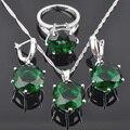 FAHOYO Criado Verde Esmeralda das Mulheres 925 Conjuntos de Jóias de Casamento Brincos de Prata/Pendente/Pendente da Colar/Anéis Frete Grátis QZ080