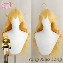 [anihut] Желтый yang xiao длинный волнистый парик термостойкий