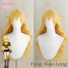 【Anihut】yellow Yang Xiao Lange Golvende Pruik Hittebestendige Synthetische Cosplay Haar Anime Cosplay Pruik Yang Xiao Long