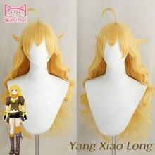 Peluca de pelo largo ondulado de Yang Xiao, color amarillo, resistente al calor, Cosplay, pelo sintético, peluca de Cosplay Yang Xiao Long