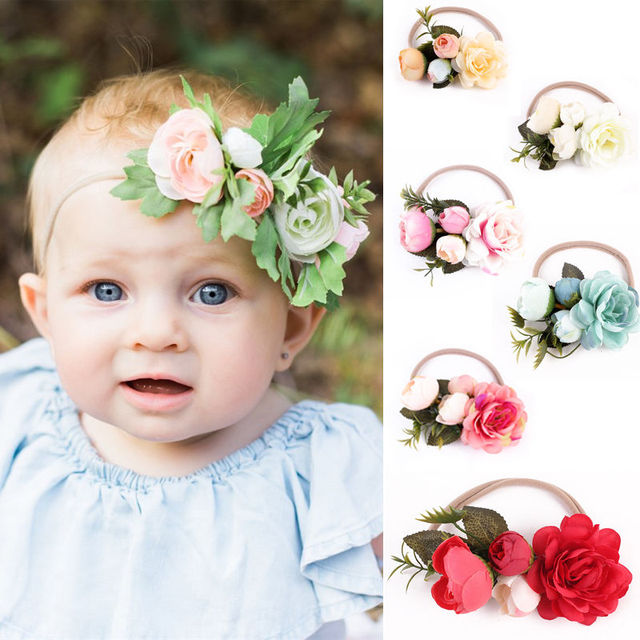 2017 New Kids Girl Baby Toddler Infant Flower Headband Hair Band Headwear Accessories Party Wear Flower Headband