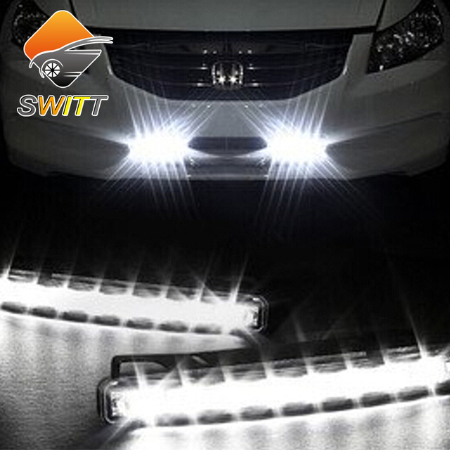 Newest 2Pcs Car Daytime Running Lights 8 LED DRL Daylight Kit parking light 12V DC Head Lamp-PY car styling