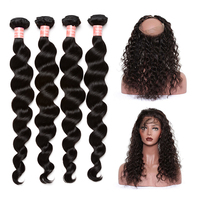 4 Brazilian Hair Weave Bundles With 360 Lace Frontal Closure Loose Wave Human Hair Bundles With