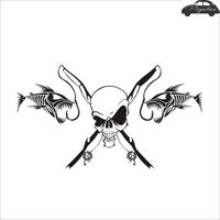 Pegatina Skull Decal Angling Tackle Shop Hollow Sticker Fish Fishing Boat Car Window Vinyl Decal Funny Poster Motorcycle