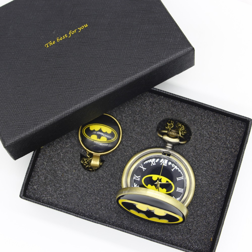 New Arrival Batman Movie Design Pocket Watch & Glass Dome Necklace Pendant Cosplay Best Gift To Boys old antique bronze doctor who theme quartz pendant pocket watch with chain necklace free shipping