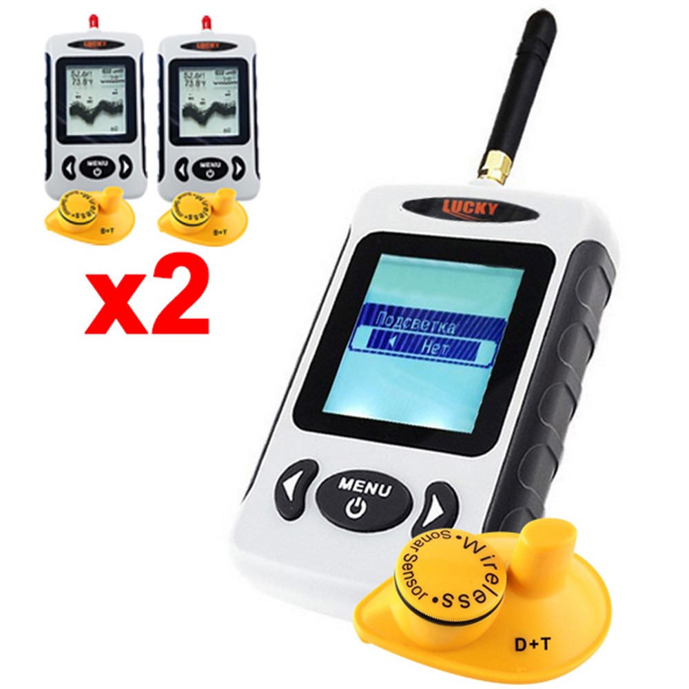 2 x pieces Russian Menu LUCKY FFW-718 Digital 45M Wireless Sonar Sensor Fish Finder River Lake Sea Fish Locator Monitor lucky fishing sonar wireless wifi fish finder 50m130ft sea fish detect finder for ios android wi fi fish finder ff916