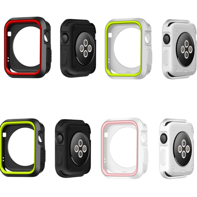 Hot Dual Colors Soft Silicone Case For Apple Watch Cover Full Protection for iWatch Series 1/2/3 42mm 38mm Strap new silicone case watch frame for apple watch series 3 2 1 38mm 42mm watch band full protection case cover for apple iwatch 3 2