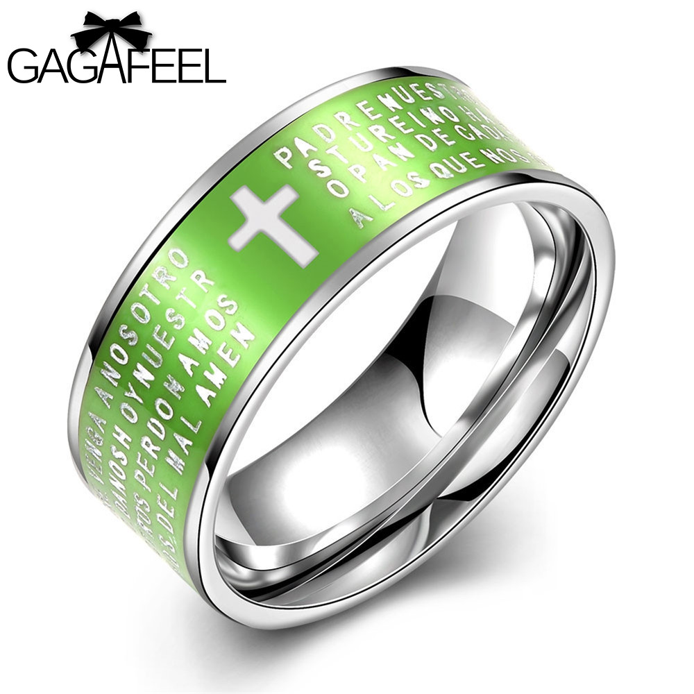 Gagafeel Religious Christian Ring Finger Cross Accessories Lord's Prayer  Stainless Steel Jewelry Male Men Rings Ethnic