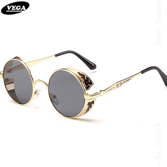VEGA Unique Circle Steampunk Sunglasses Women Men Round Gothic Glasses 2017 Retro Future Sunglasses Vintage Goggles 8990