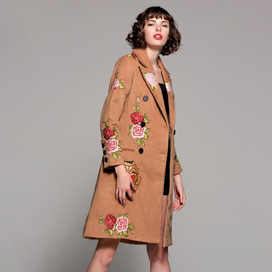 Noble mezcla 2018 principios de primavera Inglaterra mujer moda Turn down Collar doble Breasted Grado Superior largo color de Camel real abrigo-in Lana y mezclas from Ropa de mujer    3