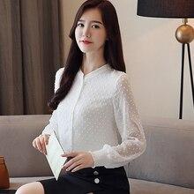 2018 New arrived women shirt sweet  female V collar wave point long-sleeved suntan  women blouse Korean style OL blusa 0974  30