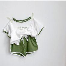 Хлопковая детская одежда, летняя одежда для мальчиков, спортивный костюм из 2 предметов для маленьких мальчиков, футболка+ шорты, комплект одежды для девочек, комплекты детской одежды