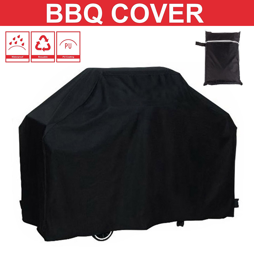 Black Waterproof BBQ Grill Cover BBQ Accessries Outdoor Rain Charcoal Grill Anti Dust Protector For Gas