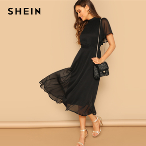 Image 4 - SHEIN Glamorous Black Mock neck Knot Back Sheer Panel Dress 2019 Spring A Line Butterfly Sleeve Stand Collar Elegant Dresses