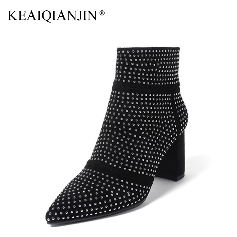 KEAIQIANJIN Woman Rivet Ankle Boots Square Toe Black Gray Autumn Winter Ankle Boots High Heel Genuine Leather Ankle Boots 2017 woman platform square high heel buckle ankle boots fashion round toe side zipper dress winter boots black brown gray white