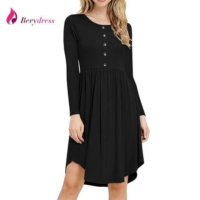 2018 Autumn Long Sleeve A Line Casual Dress Modest Womens Midi