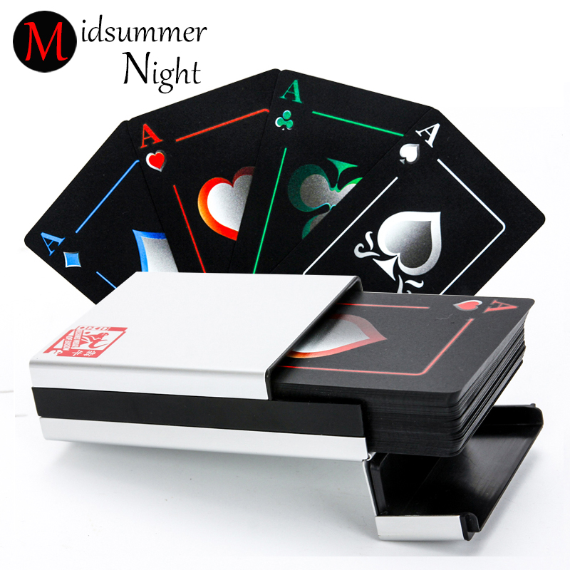 FREE SHIPPING New black matte plastic poker cards waterproof PVC waterproof playing cards with aluminium alloy box in 2 function