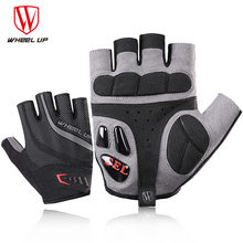 Wheel up half finger cycling gloves Gel racing bike Mountain sport bike glove breathable mountain bike road bike gloves cheap Gloves Mittens Gel Liquid Silicone Anti-Static WHEELUP S141