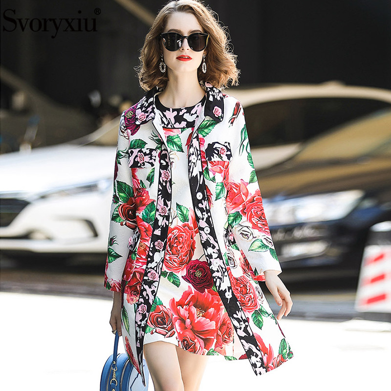 Svoryxiu Runway Winter luxury Coat Two Piece Set Women s High Quality Jacquard Tank Dress Rose