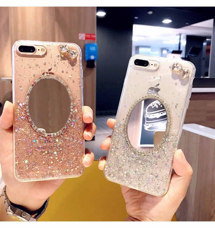 XSMYiss для iPhone 6 6 S 7 Plus 8 plus X милый блестящий чехол для телефона с бриллиантами, круглый зеркальный и галстук-бабочка, мягкий силиконовый чехол