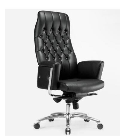 Cuir patron chaise classe chaise ergonomique en alliage d'aluminium pieds ordinateur bureau patron superviseur chaise.