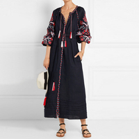 TEELYNN Ethnic Black Floral Embroidery boho dress 2018 autumn vintage long Sleeve long dresses Casual loose cotton women dress