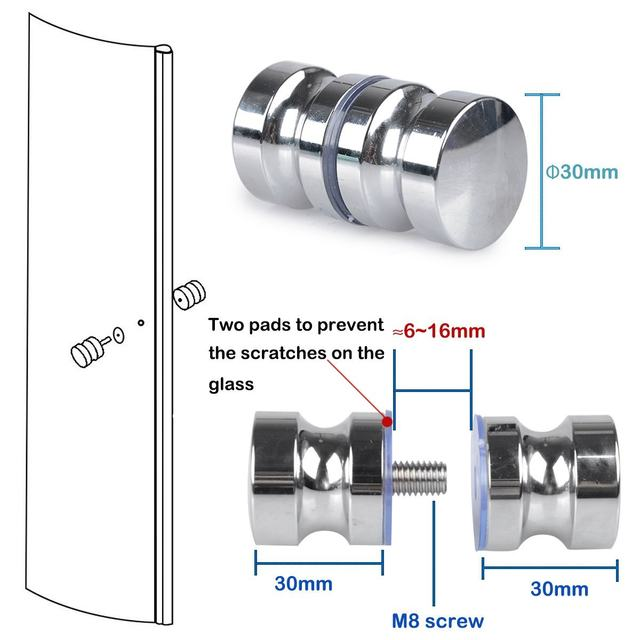 2 Pack Shower Screen Round Back To Back Door Handle Door Knob Replacement  Polished Chrome