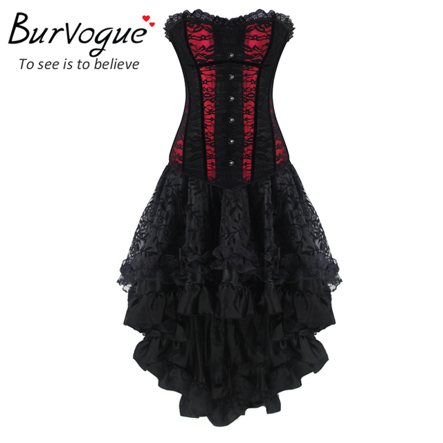 Burvogue New Women Sexy Waist Control Corsets And Bustier Top Gothic Corset Dress Slimming Overbust Corselet Waist Trainer