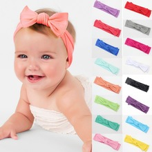 Puseky Boho Newborn Infant Baby Headband  Bow Knot Headdress Hair Band Girls Cotton Solid Color Headwear Toddler Kid Hairband