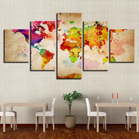 Modern 5 Panel World Abstract Colorful Map Canvas Painting Home Wall Art Decor Room Large Pictures Decoration Ready to Hang