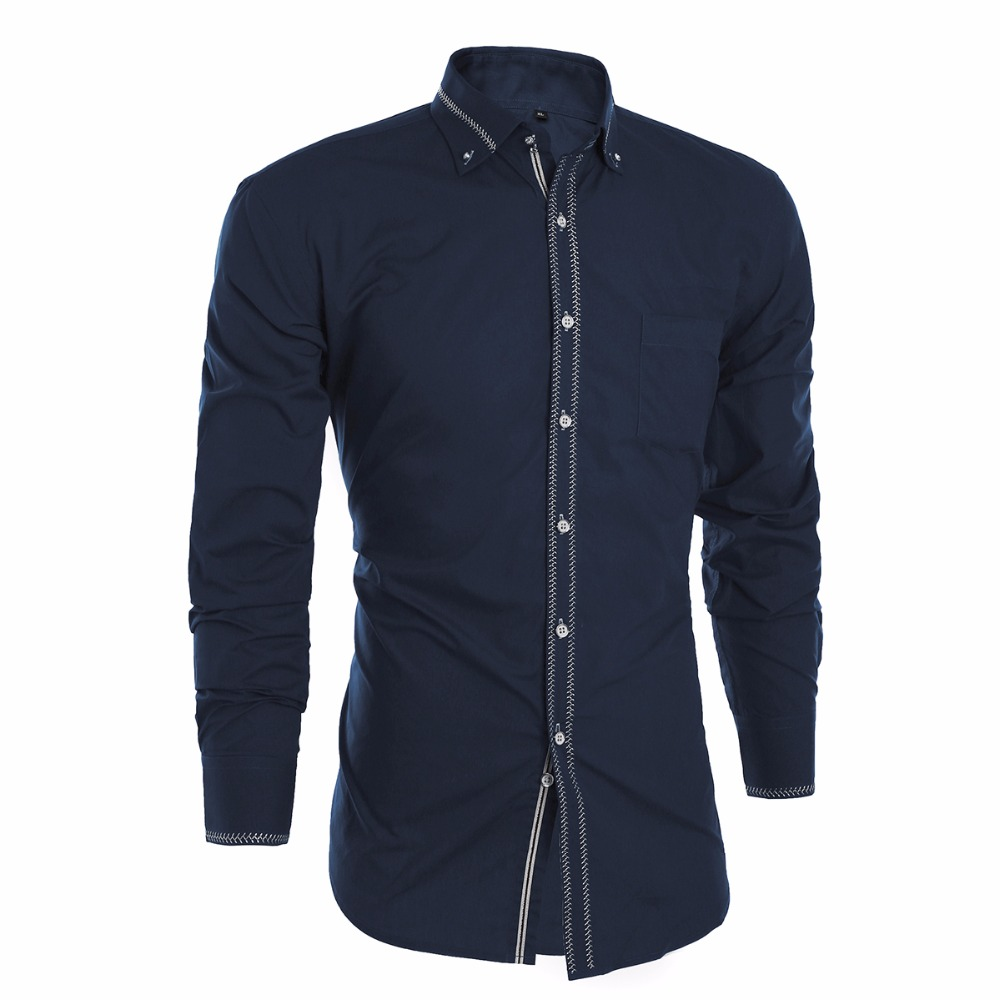 2016 Luxury Men Shirts Long Sleeve Mens Dress