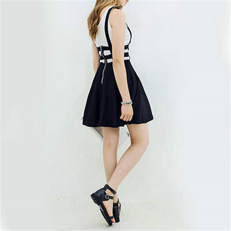 3ab2858ef 2018 New Retro Women Hollow Mini Skater Skirt Summer Cute Suspender Clothes  Straps High Waist Skirts Black White-in Skirts from Women's Clothing on ...