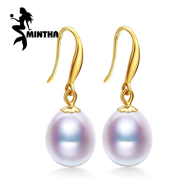 Mintha 18 К золотые серьги жемчужные украшения, противоаллергические 18 К золотые серьги-капли для Любви свадебная мода длинные серьги для женщин
