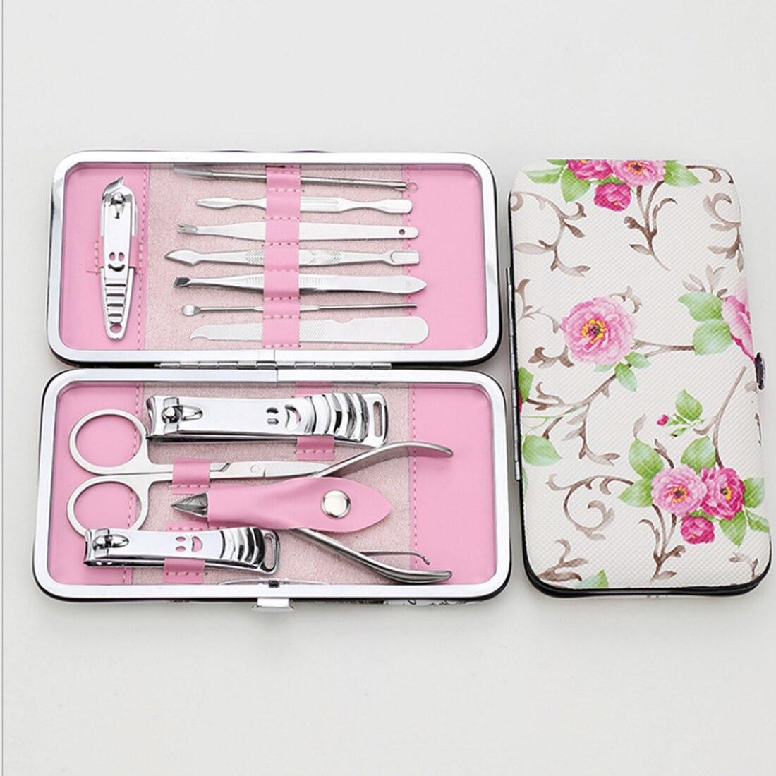 12 pz Manicure Set Pedicure Scissor + Cuticola Knife + Ear Pick + Nail Clipper Kit In Acciaio Inox Cura delle unghie Strumento set