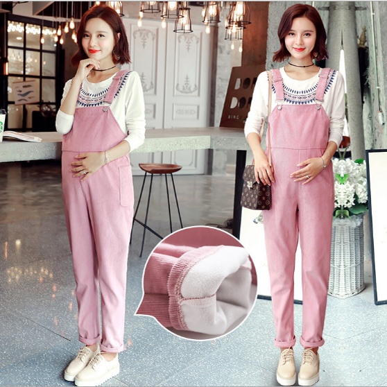 Hot Maternity Blossoming corduroy pregnant women with pants Korean version of the belly pants spring autumn with pieces warm pregnant women dress new fashion korean version fall