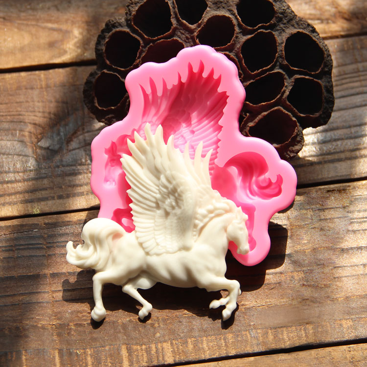 Yueyue Sugarcraft 1 pc Flying horse silicone mold fondant cake mold cake decorating tools chocolate gumpaste mold