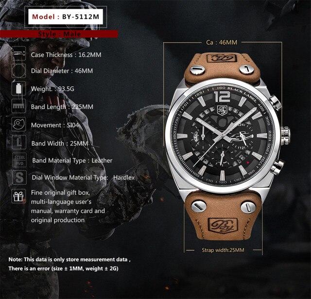 BENYAR Large dial design Chronograph Sport Mens Watches Fashion Brand Military waterproof Quartz Watch Clock Relogio Masculino 2