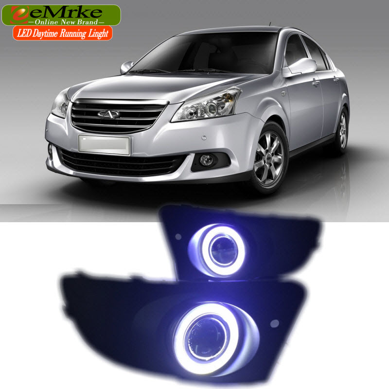 EEMRKE For Chery E5 2011 2012 COB LED Angel Eye DRL H11 55W Halogen Yellow Fog Lights Lamp Daytime Running Light Car Styling for opel astra h gtc 2005 15 h11 wiring harness sockets wire connector switch 2 fog lights drl front bumper 5d lens led lamp
