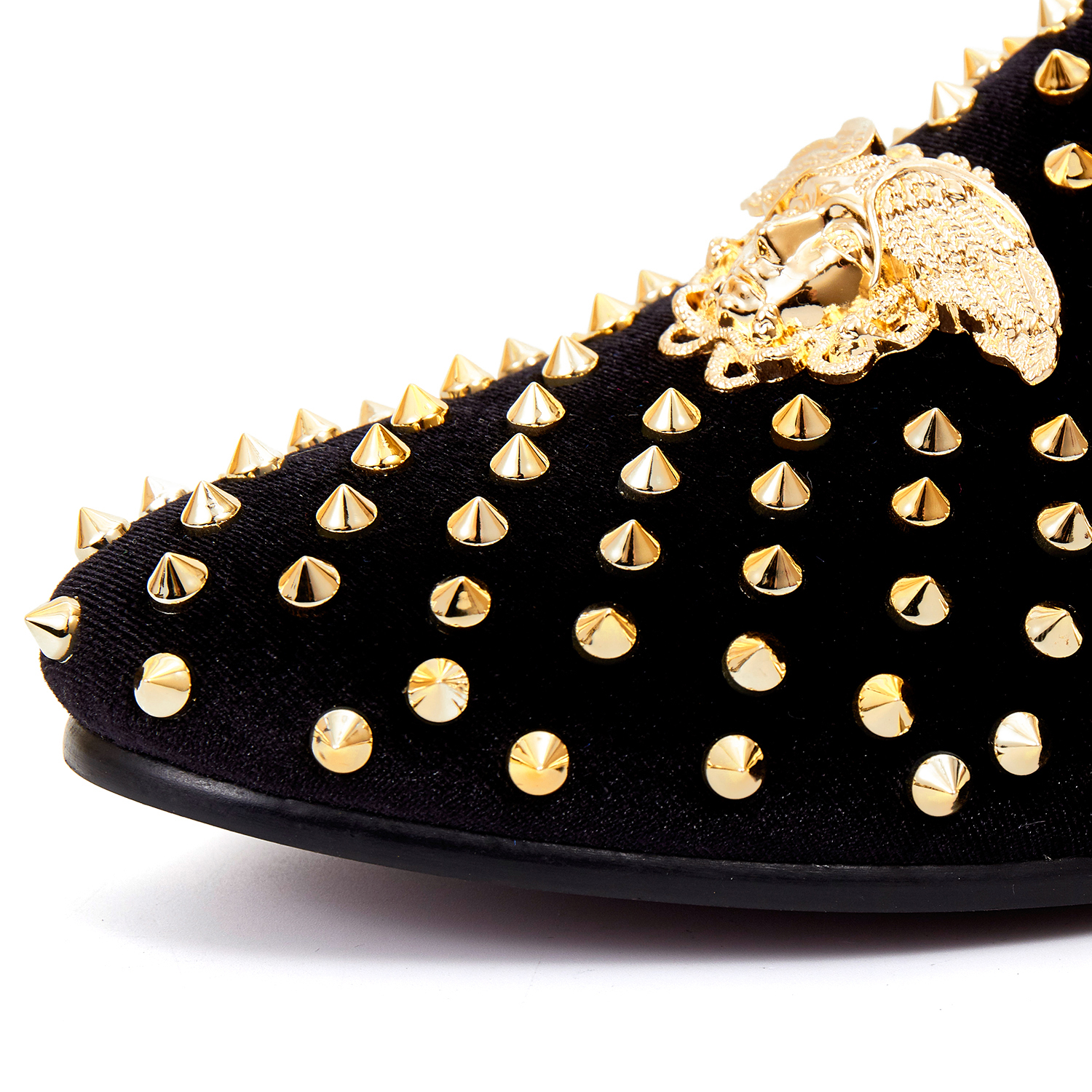 b359f6f40680ad Harpelunde Men Dress Shoes With Spikes Black Velvet Loafers Classic Buckle  Flat Shoes Size 7 14-in Formal Shoes from Shoes on Aliexpress.com