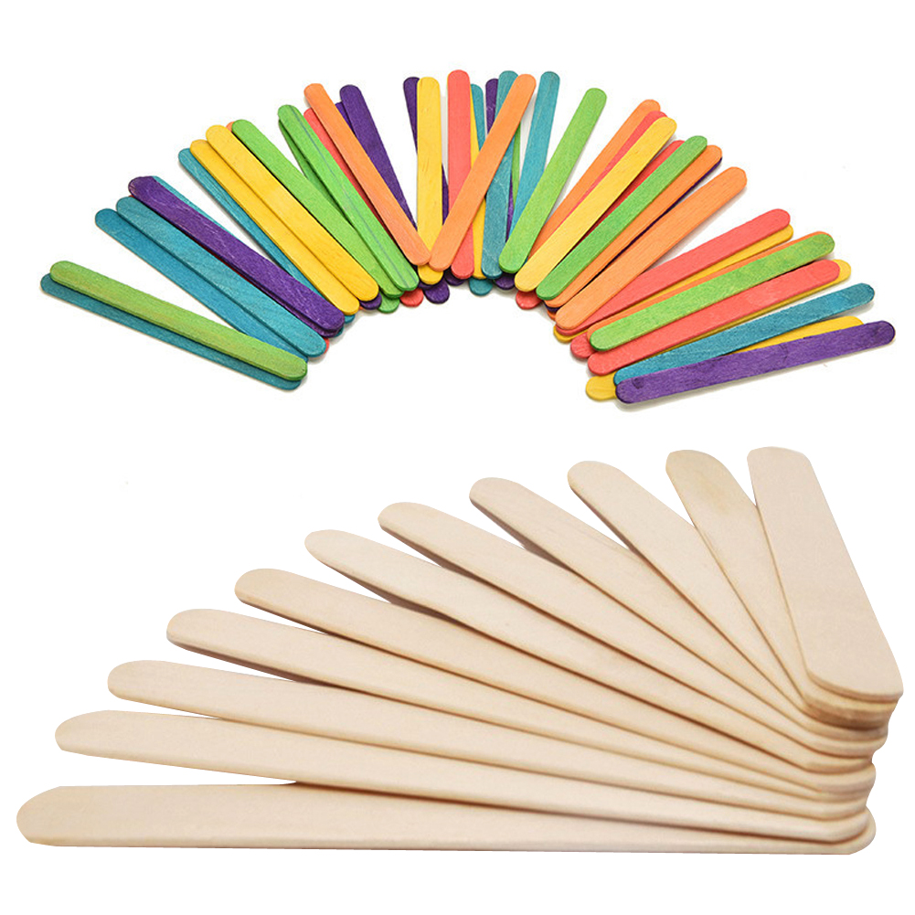 50Pcs / Lot Farvede Træ Popsicle Sticks Natur Træ Ice Cream Sticks Kids DIY Hånd Håndværk Art Ice Cream Lolly Cake Værktøj