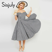 Sisjuly Vintage Dress Women Pin Up Black Plaid Elegant Dresses Luxury Summer Short Sleeve A Line