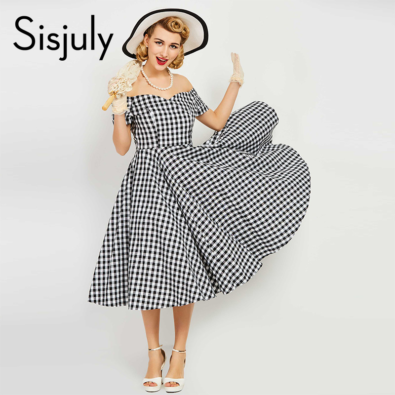 Sisjuly vintage dress mujeres pin up negro plaid vestidos elegantes verano de lu