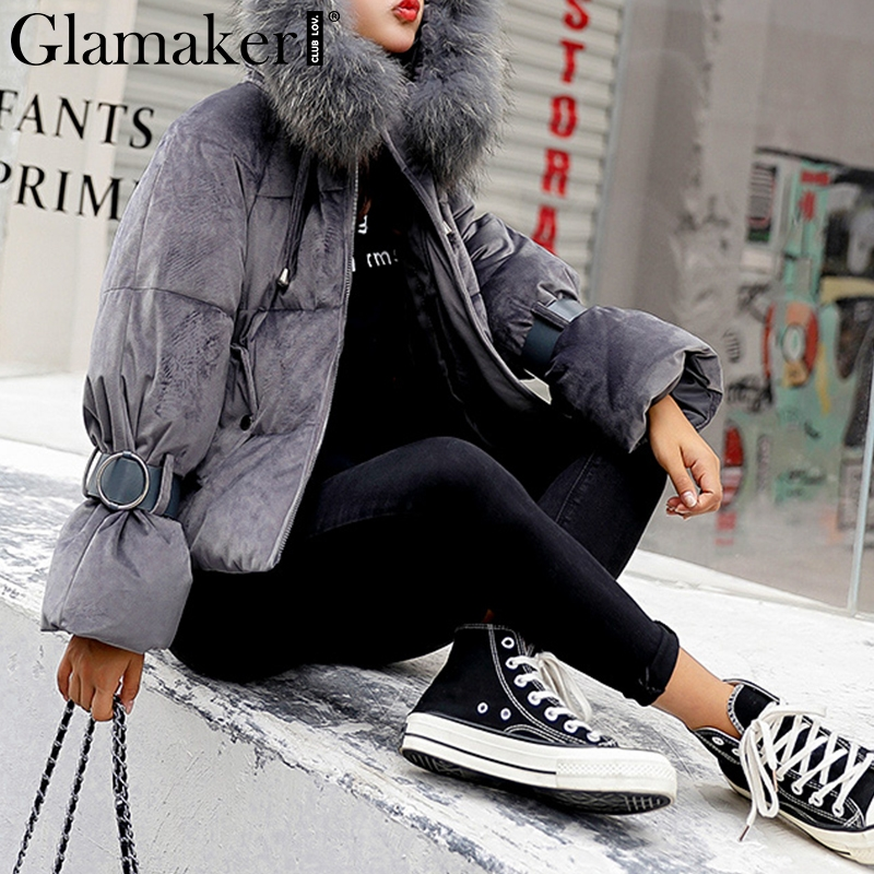 Glamaker Black hooded fur colllar women Thicken outwear Winter zipper buckle lace up   parkas   coat Fashion velvet cotton warm coat