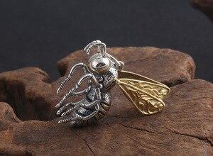Image 3 - Gerçek 925 gümüş arı kolye kolye 925 ayar meşgul arı kolye kolye Vintage Bohemia kolye