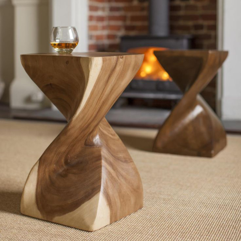 Creative Solid Wood Stool Square Stool Curved Wooden Stool