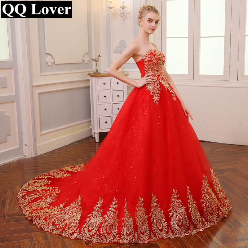 QQ Lover 2018 Free Shipping Vintage Lace Red Wedding Dresses Long Train Plus Size Ball Gown Robe de Mariee Vestido De Noiva
