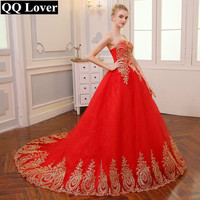 QQ Lover 2018 Free Shipping Vintage Lace Red Wedding Dresses Long Train Plus Size Ball Gown