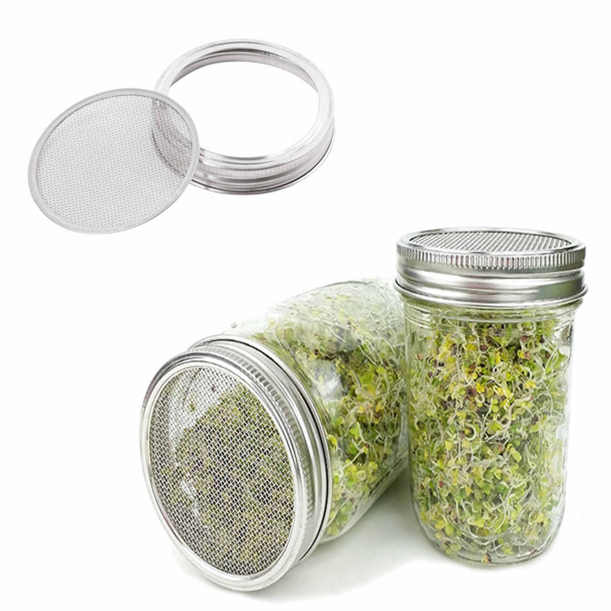 5Pcs Seed Sprouting Lids Strainer Canning Mason Jars Mesh Lid Filter Stainless Steel Screen Filters to Sift Flour Powdered Sugar