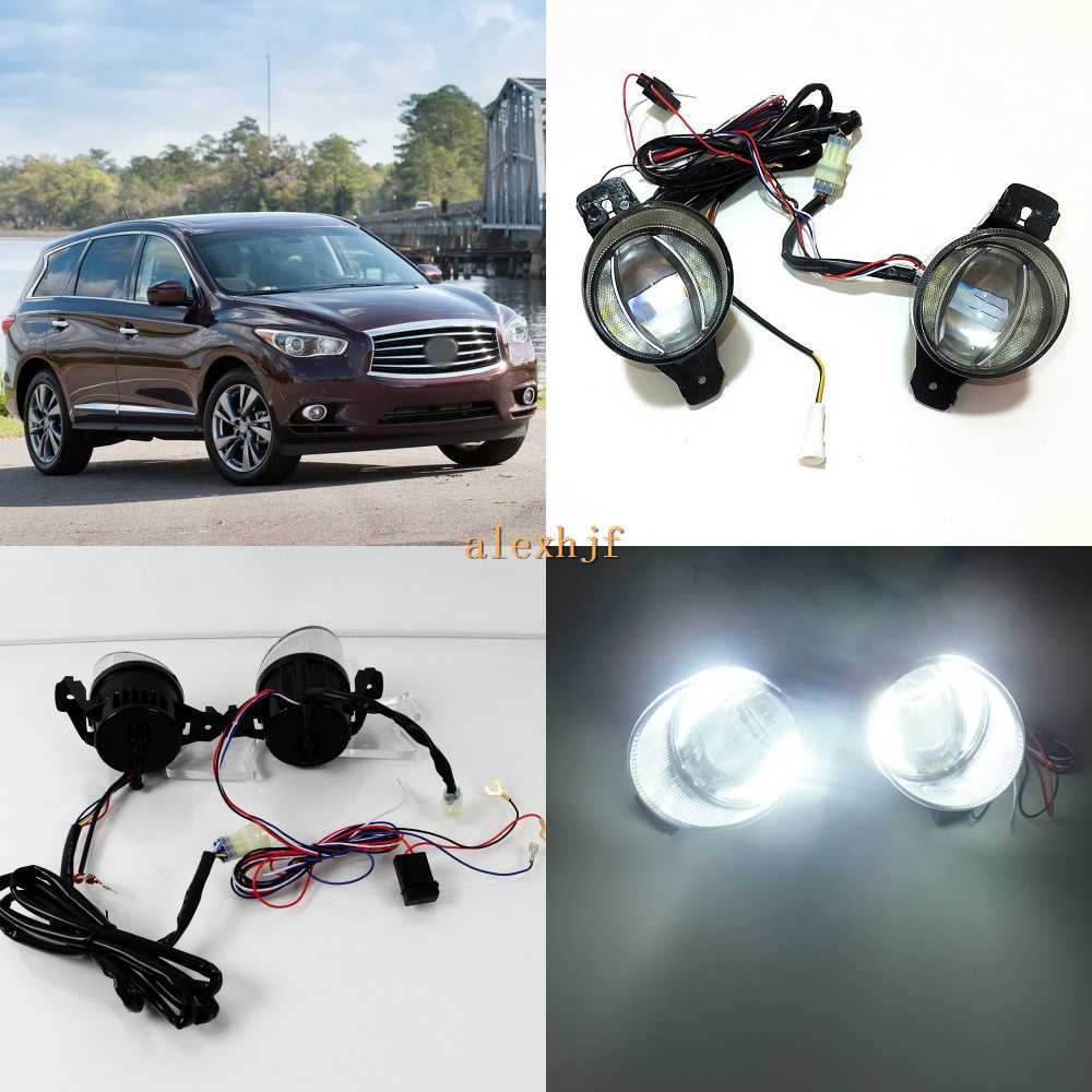 July King 1600LM 24W 6000K LED Light Guide Q5 Lens Fog Lamp+1000LM 14W Day Running Lights DRL Case for Infiniti JX35 QX60 2013+ for opel astra h gtc 2005 15 h11 wiring harness sockets wire connector switch 2 fog lights drl front bumper 5d lens led lamp