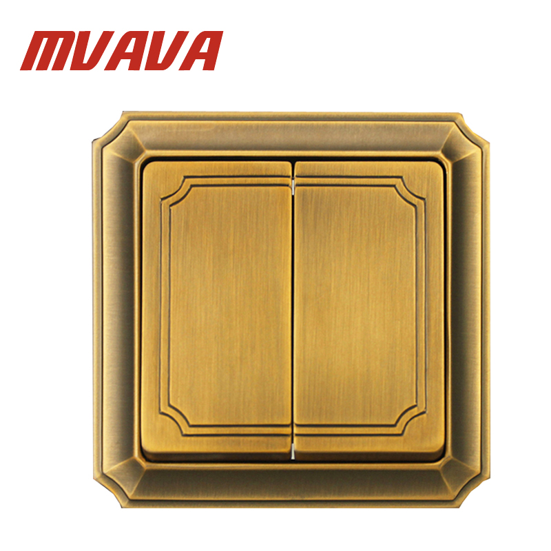 MVAVA Luxury Bronzed Wall Switch 16A 110-250V Decorative 2 Gang 2 Way Electrical Light Push Button Wall Switch Free Shipping uk standard luxury gold switch panel wall switch 110 250v 16a push button switch and 4 gang 2 way light switch